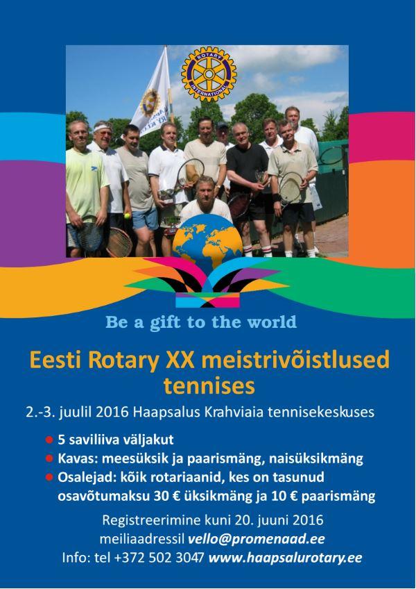 2016 Eesti Rotary XX meistrivoistlused tennises